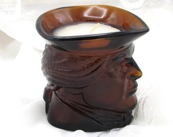 Jefferson Head Candle, Avon Glass Colonial Head Cup, Amber Glass Candle and Holder, Creamer or Syrup Pitcher