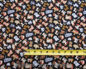 Dogs Doggie Puppys Breeds Cartoon on Black BY YARDS Timeless Treasure Fabric