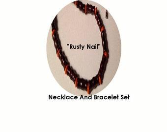 Rusty Nail Wooden Necklace And Bracelet Srt
