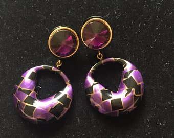 1980s purple and black dangle earrings