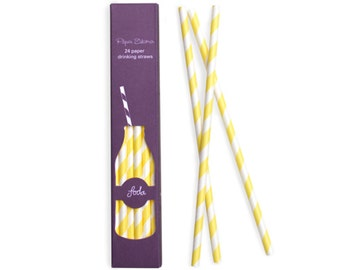 Paper Straws | Yellow and White Striped Paper Straws 7.75"