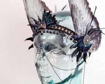 Real Pigeon Wings and Rabbit and Pigeon Bone Iridescent Hermes Headpiece