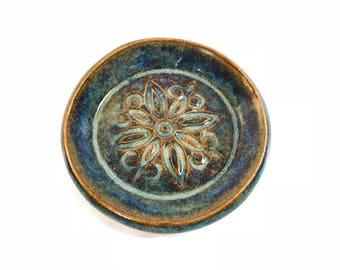 Pottery Dish, Stoneware Pottery Dish, Trinket Tray, Soap Dish, Tea Bag Holder, Trinket Dish, Jewelry Tray, Ceramic Dish, Textured Dish