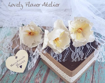 White flowers for hair, white poppies yellow heart, entirely handmade, unique wedding hairstyle.