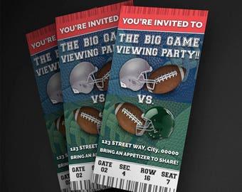 The Big Game Football Party Invitation, Football Invitation, Football Party Invitation, Football Game Ticket Invitation
