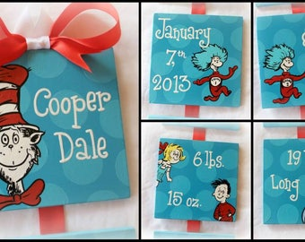 Dr. Seuss Cat in the Hat inspired birth announcement for baby nursery or childrens bedroom