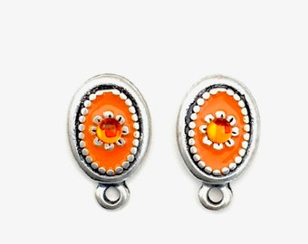1 pair (2 pieces)post earrings enamel and antique silver with back stoppers, 18mm x 26mm #FIN E 065