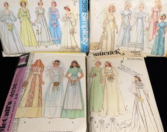 Lot of 4 Vintage 60's/70's Wedding Dress Sewing Patterns Bridal Gown Bridesmaid Formal Prom Hippie