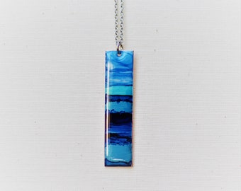 Hand Painted Shades of Bule Necklace