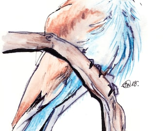 Watercolour bird illustration giclee print for your home