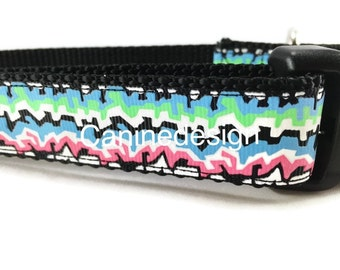 Dog Collar, Graffiti, 1 inch wide, adjustable, quick release, metal buckle, chain, martingale, hybrid, nylon