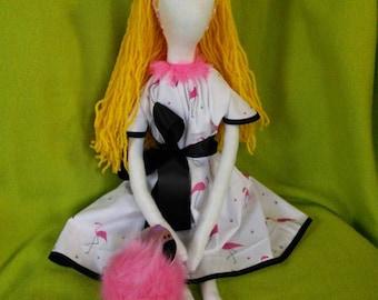 Goth Rag Doll with Flamingo Familiar Plush Home Decor Art Doll Goth