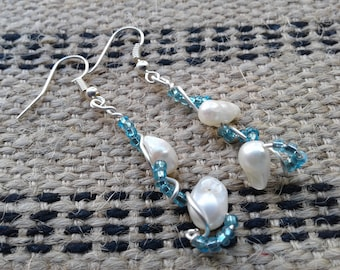 Beaded freshwater pearl dangle earrings