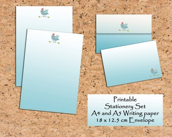 Bird Stationery Printable Writing paper Writing set Scrapbooking paper and envelope Stationery Set Printable note paper Digital file