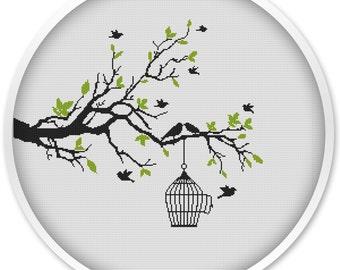 Birds Cross Stitch patterns, Tree Cross Stitch, Cross stitch PDF, Cross stitch pattern love, Birds.#020
