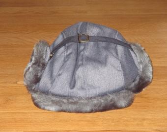 Rare NOS Vintage 1980s Winter Faux Fur Ear Flap Hat