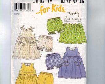 Kids Sewing Pattern New Look 6767 Girls Jumper Dress Panties Summer Sundress Toddler Size 1/2 1  2 3 4 Breast 20 21 22 23 UNCUT  99
