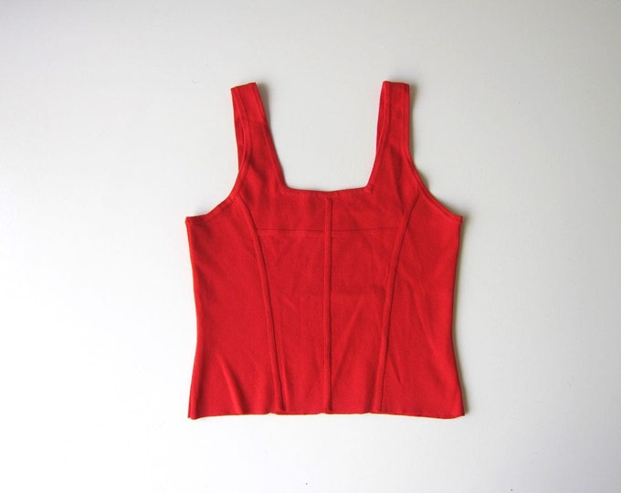 90s Red Tank Top Stretch Crop Top Vintage Simple Cropped Tank Sporty Minimal Tee Tank Womens Medium
