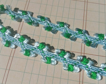 "Blue Green Loop Fringe Satin Trim Ribbon - 1/2"" Wide - 24 Yards - Destash Sale - LAST OF SPOOL"