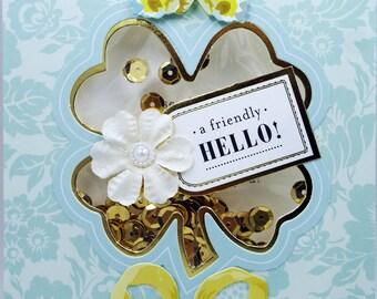 A Frriendly Hello Gold Sequins Shaker Card 2018 Handmade