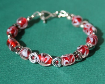 Red with White Swirl Heart Bracelet