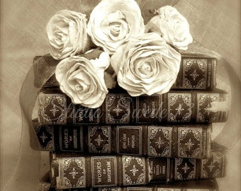 "Book Art, Book Photography, Antique Book Print, Library Office Decor, French Country Sepia Print, Rose Still Life Print- ""Hopeless Romantic"""