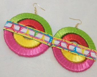 Trendy Fashionable Team Hip Hop African Red, Fuchsia, Yellow, Turquoise and Lime Green Ribbon Hoop Earrings