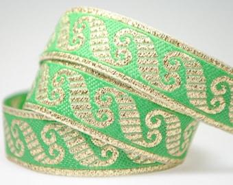 "Viking Scroll - Green/Metallic Gold 1/2"" Jacquard"