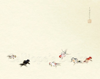 """Goldfish - 錦魚, ink on paper (all artworks are sold without the """"Calliope's Bucket"""" stamp)"""
