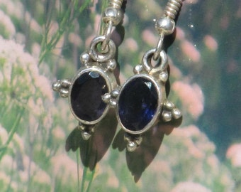 Sterling silver iolite dangle earrings