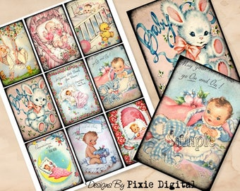 BABY Digital Collage Sheet Images Retro Clipart Newborn Babies Shower Printable Download Hang Tags Journal Cards ATC Scrapbooking Gift Tag