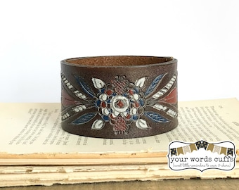 your words cuffs - custom hand stamped leather belt bracelet - personalized with your words - brown red blue white embossed - leather cuff