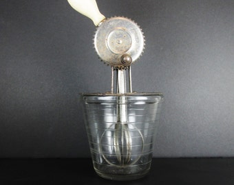 Vintage A&J Hand Mixer Egg Beater with Glass Measuring Cup