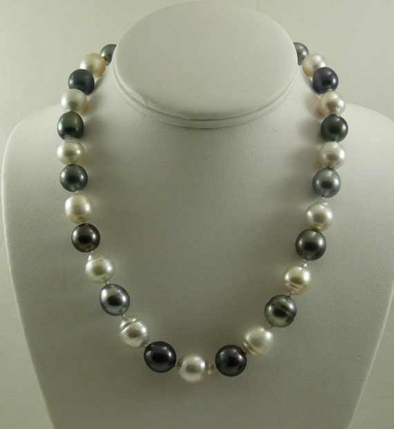 South Sea White and Black Tahitian Baroque Pearl Necklace 14K White Gold Clasp