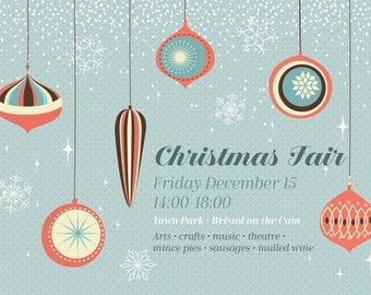 Christmas fair poster, Christmas fair flyer, Christmas Market poster, Christmas Market flyer