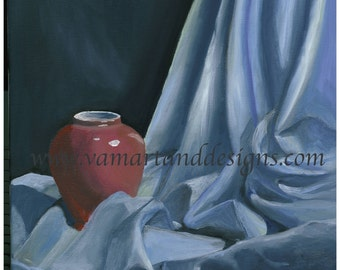 Original Oil Painting Fabric Study Still Life - 11 inches x 14 inches