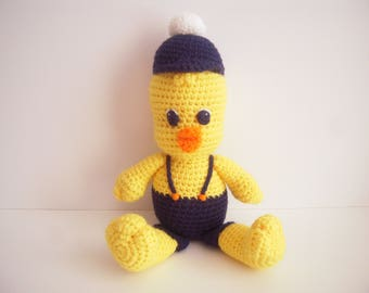 Crocheted Stuffed Amigurumi Boy Chick with Hat and Pants