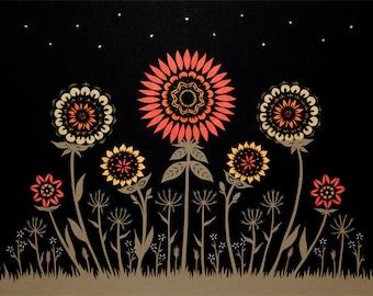 Midnight Garden - 16 x 20 inch Cut Paper Art Print