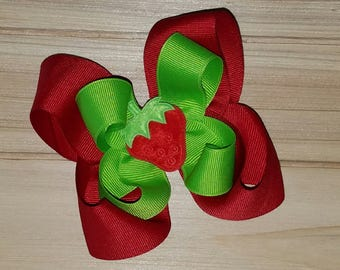 Strawberry bow, Red or Pink, Spring, Summer, hair bow