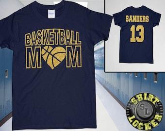 Basketball Mom Glitter Design Womens Ultra Cotton Tee Shirt Spirit Wear Glitter Bling Design Mother Hoops Any color combination