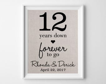 12 years together linen anniversary print 12th anniversary
