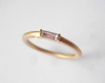 Baguette Diamond  Band 2 mm  on 18K gold
