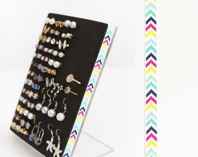 Stud Earring Organizer - Multi-Color Chevron Ribbon - Earring Holder - Leave Backs On