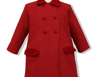 Red double breasted children wool coat, with red velvet ornaments. English classic model children coat authentic wool. Coats for kids