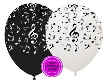 Balloons, musical notes balloons, festive musical notes, decorations notes music, decoration notes, musical theme decor, confetti notes Music
