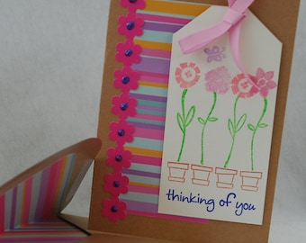Pink Thinking of You Card Handmade Card