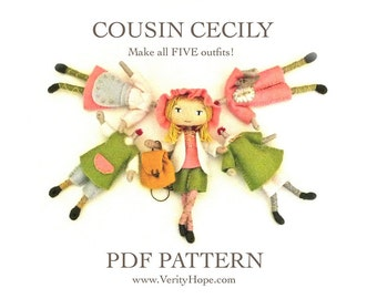 COUSIN CECILY / doll pattern / digital / epattern / tutorial and pattern for felt bendy doll by Verity Hope
