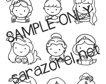 Disney Princess Doodles, Coloring Page, Printable, Chibi, Kawaii, Cute characters