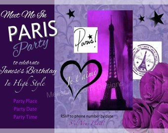 Paris Party Invitation, DIGITAL FILE, Customized Party Invitation, Personalized Party Invitation, Meet Me In Paris, Purple French Invitation