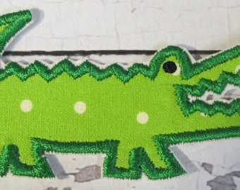 Little Alligator - Iron On or Sew On Embroidered Applique - FREE Shipping